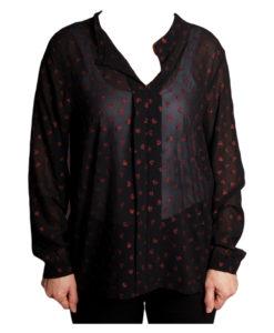 Дамска блуза 019-677-62 черна с червени сърца
