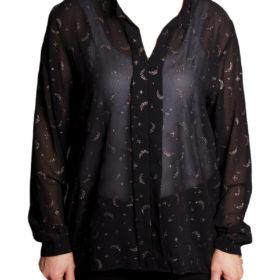 Дамска блуза 019-677-63 черна със сребърна декорация