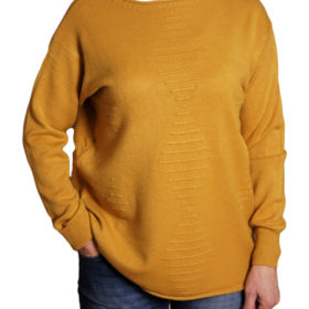 Дамски пуловер 019-678-4 едноцветен цвят горчица