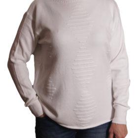 Дамски пуловер 019-678-7 едноцветен цвят бял