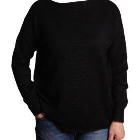 Дамски пуловер 019-678-8 едноцветен цвят черен