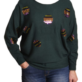 Дамска блуза XL 119-263-2 с пайети цвят зелен