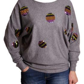 Дамска блуза XL 119-263-5 с пайети цвят сив