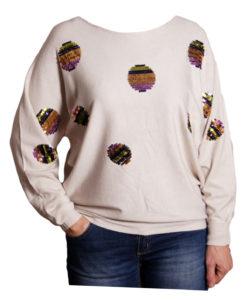 Дамска блуза XL 119-263-1 с пайети цвят бежов
