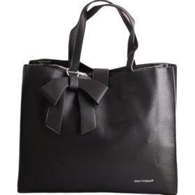 Дамска чанта 01-17-164-2 черна с кожена панделка