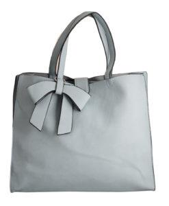 Дамска чанта 01-17-164-1 синя с кожена панделка