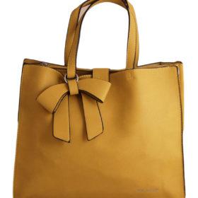 Дамска чанта 01-17-164-3 цвят горчица с кожена панделка