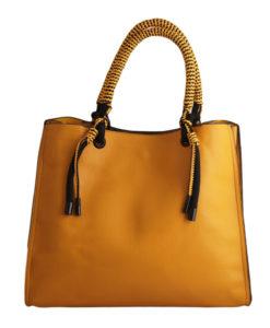 Дамска чанта 01-17-164-5 цвят горчица с ефектни дръжки