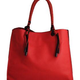Дамска чанта 01-17-164-4 червена с ефектни дръжки