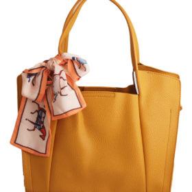 Дамска чанта 01-17-164-51 цвят горчица с панделка