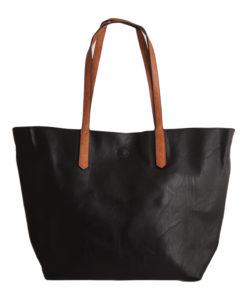 Дамска чанта 01-17-164-52 черна с кафяви дръжки
