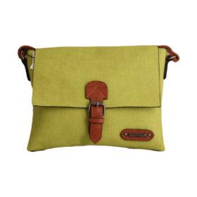 Дамска чанта 01-17-164-64 малка цвят зелено с кафяви акценти
