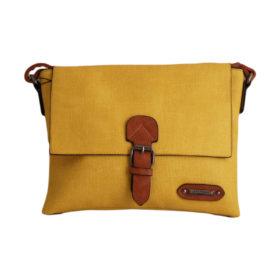 Дамска чанта 01-17-164-66 малка цвят жълт с кафяви акценти Спортна, малка дамска чанта с дълга дръжка. Ефектна и стилна комбинация на цветове - жълто с кафяво.