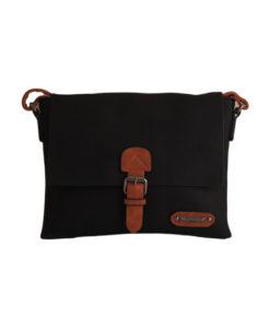 Дамска чанта 01-17-164-67 малка цвят черен с кафяви акценти