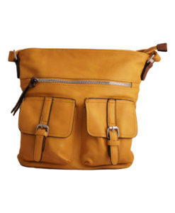 Дамска малка чанта 01-17-163-79 цвят горчица с два джоба