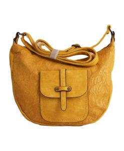 Дамска малка чанта 01-17-163-80 цвят горчица с ефектна кожа