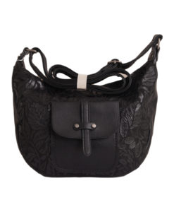 Дамска малка чанта 01-17-163-80 цвят черен с ефектна кожа