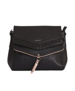 Дамска малка чанта 01-17-163-71а черна със сребърно