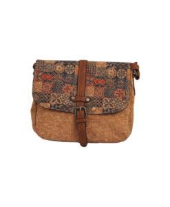 Дамска малка чанта 01-17-163-72 щампа с акцент в червено