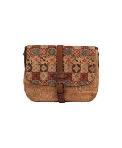 Дамска малка чанта 01-17-163-73 щампа с акцент в синьо