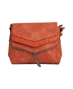 Дамска малка чанта 01-17-163-71 оранжева със сребърно