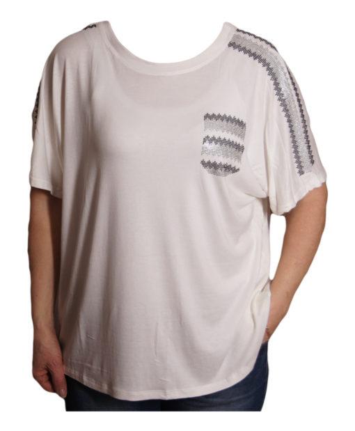 Дамска блуза XL 119-276-97 бяла с джобче