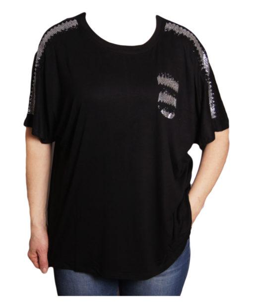 Дамска блуза XL 119-276-99 черна с джобче