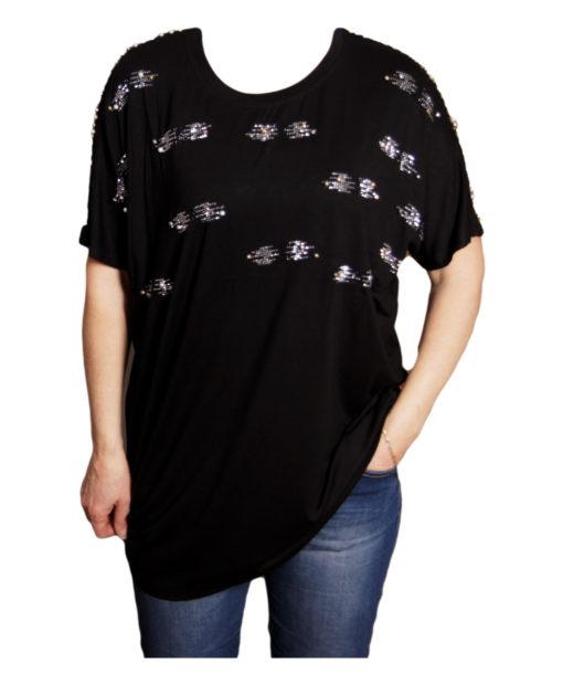 Дамска блуза XL 119-276-994 черна с дантелен гръб