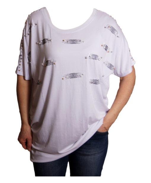 Дамска блуза XL 119-276-993 бяла с дантелен гръб