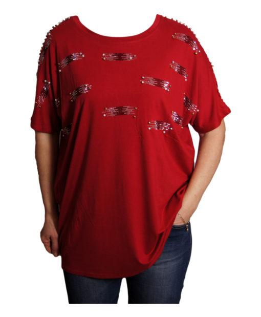 Дамска блуза XL 119-276-995 червена с дантелен гръб